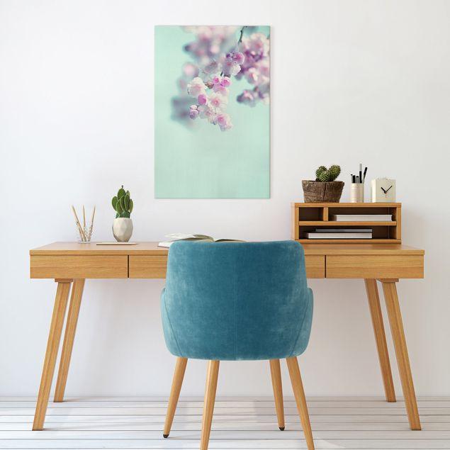 Leinwandbild - Farbenfrohe Kirschblüten - Hochformat 2:3