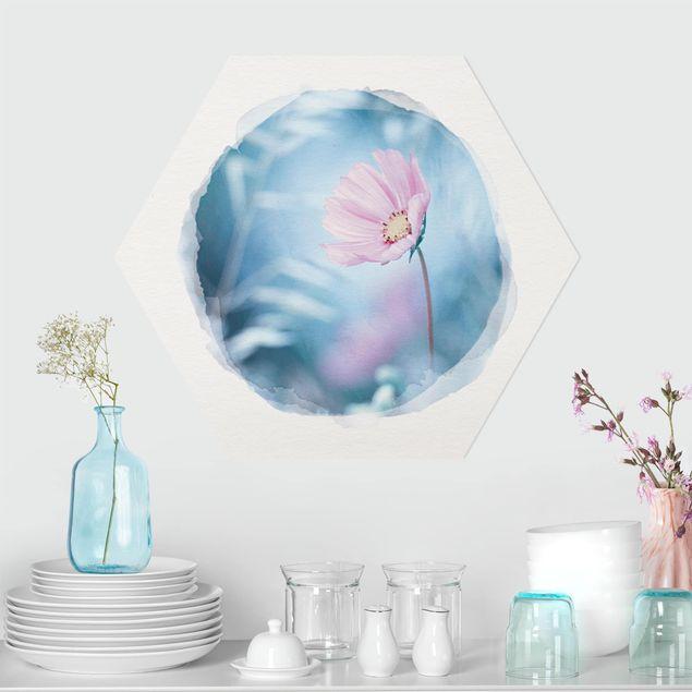 Hexagon Bild Forex - Wasserfarben - Blüte in Pastell