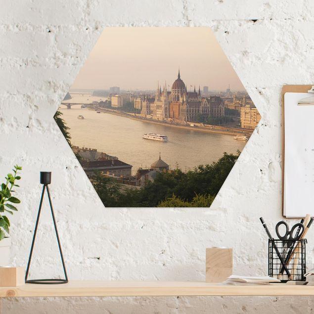 Hexagon Bild Alu-Dibond - Budapest Skyline