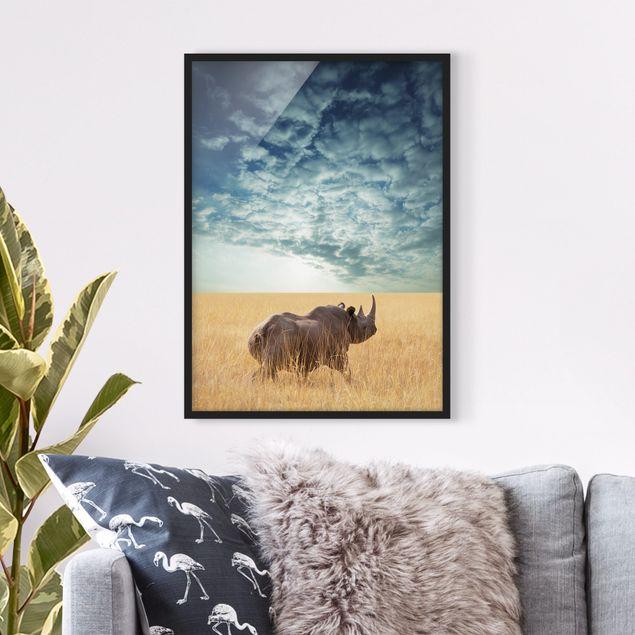 Bild mit Rahmen - Nashorn in der Savanne - Hochformat 3:4