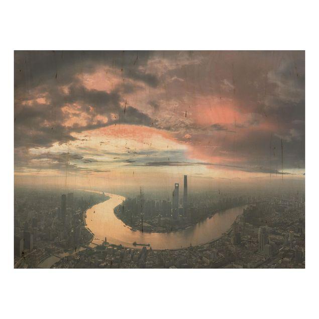 Holzbild - Shanghai am Morgen - Querformat 3:4