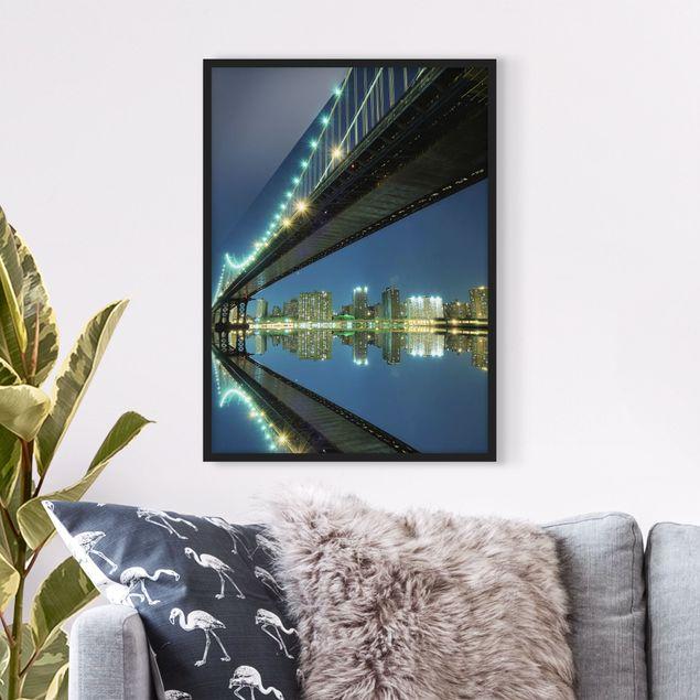 Bild mit Rahmen - Abstract Manhattan Bridge - Hochformat 3:4