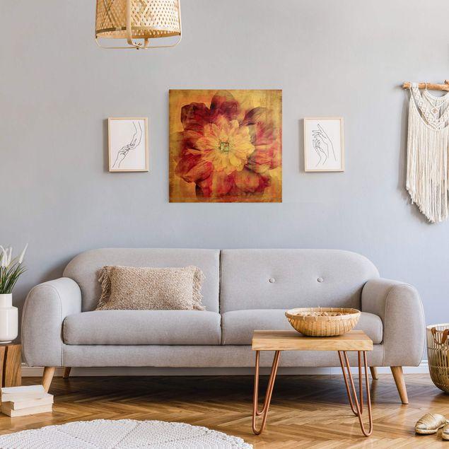 Leinwandbild Gold - Grunge Flower - Quadrat 1:1