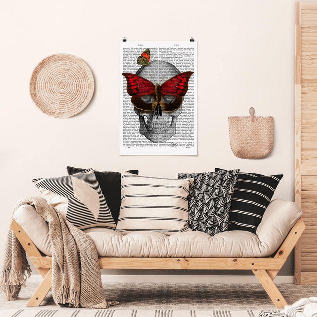 Poster - Grusellektüre - Schmetterlingsmaske - Hochformat 3:2