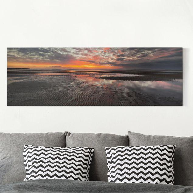 Leinwandbild - Sonnenaufgang im Watt - Panorama 1:3