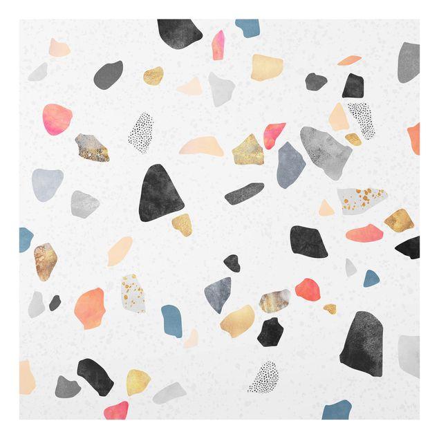 Glas Spritzschutz - Weißer Terrazzo mit Goldsteinchen - Quadrat - 1:1