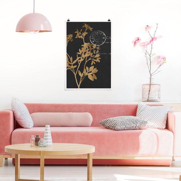 Poster - Goldene Blätter auf Mokka I - Hochformat 3:2