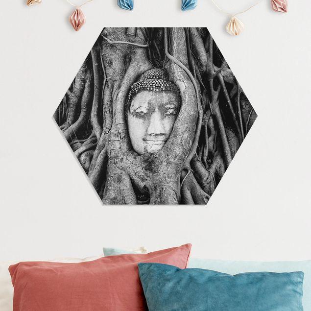 Hexagon Bild Forex - Buddha in Ayutthaya von Baumwurzeln gesäumt in Schwarzweiß