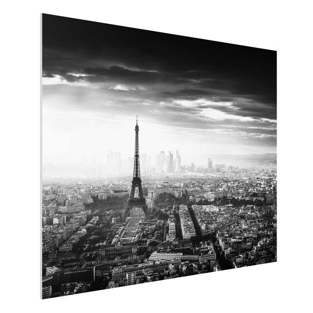 Forex Fine Art Print - Der Eiffelturm von Oben Schwarz-weiß - Querformat 3:4