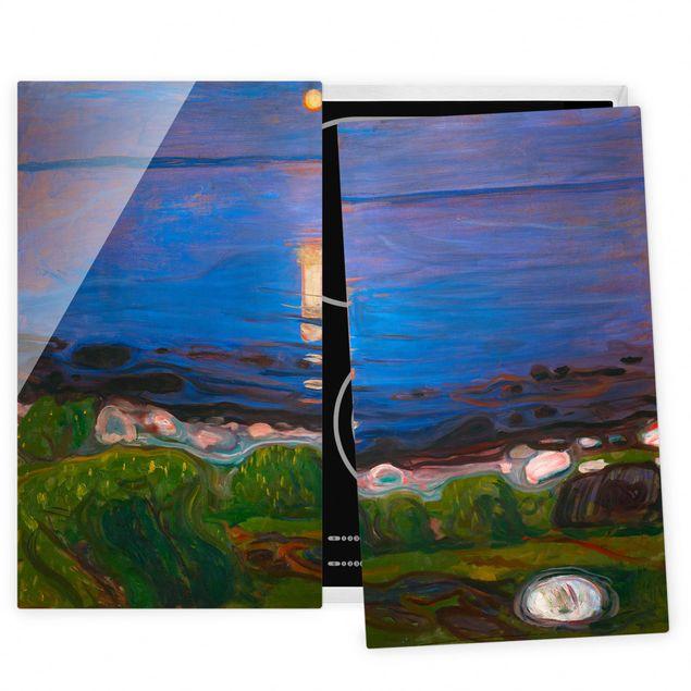 Herdabdeckplatte Glas - Edvard Munch - Sommernacht am Meeresstrand - 52x60cm