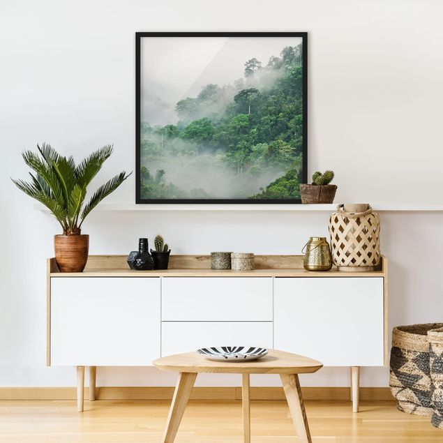 Bild mit Rahmen - Dschungel im Nebel - Hochformat 3:4