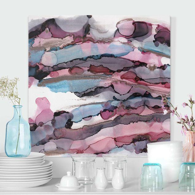 Leinwandbild - Wellenreiten in Violett mit Roségold - Quadrat 1:1