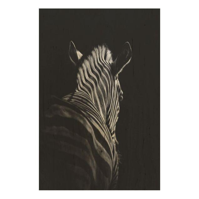 Holzbild - Dunkle Zebra Silhouette - Hochformat 3:2