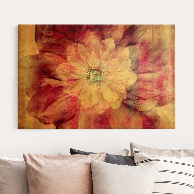 Leinwandbild Gold - Grunge Flower - Querformat 3:2