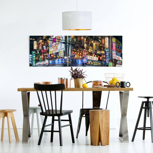 Leinwandbild - Neonreklame - Panorama 3:1