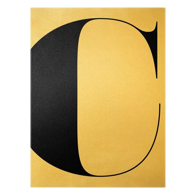 Leinwandbild Gold - Antiqua Letter C - Hochformat 3:4