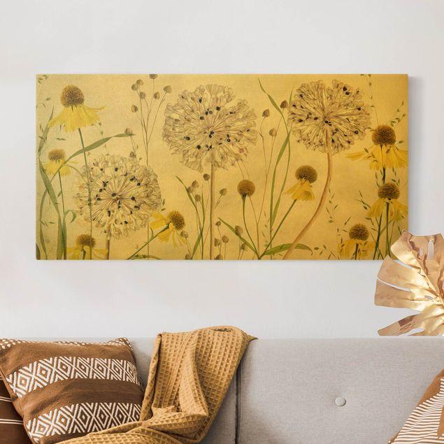 Leinwandbild Gold - Allium und Helenium Illustration - Querformat 2:1