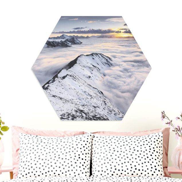 Hexagon Bild Forex - Blick über Wolken und Berge
