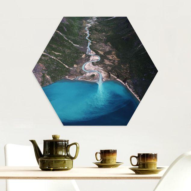 Hexagon Bild Alu-Dibond - Fluss in Grönland