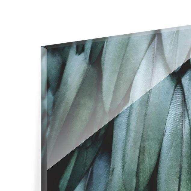 Spritzschutz Glas - Federn in Aquamarin - Quadrat 1:1