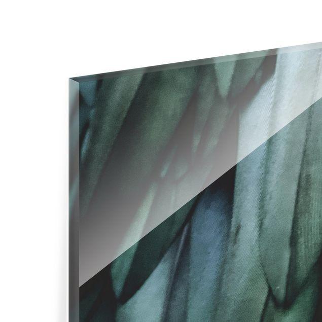 Spritzschutz Glas - Federn in Aquamarin - Querformat 2:1