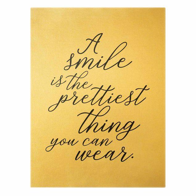 Leinwandbild Gold - A smile is the prettiest thing - Hochformat 3:4