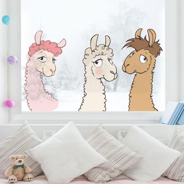 Fensterfolie - Fenstersticker NICI Lama Köpfe Set