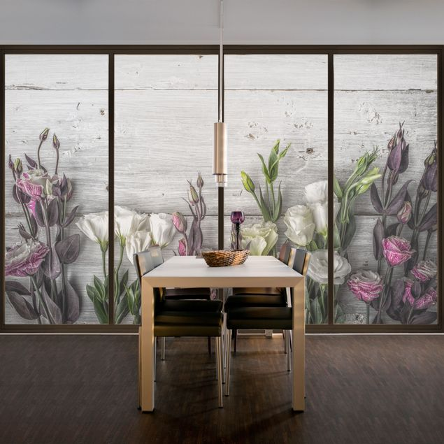 fensterfolie sichtschutz fenster tulpen rose shabby holzoptik blumen fensterbild ebay. Black Bedroom Furniture Sets. Home Design Ideas
