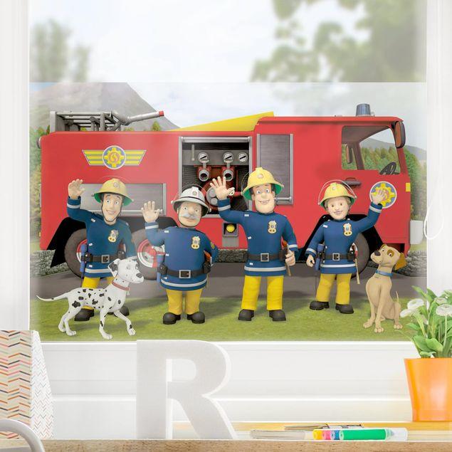 Fensterfolie Sichtschutz - Feuerwehrmann Sam - Freunde - Fensterbild