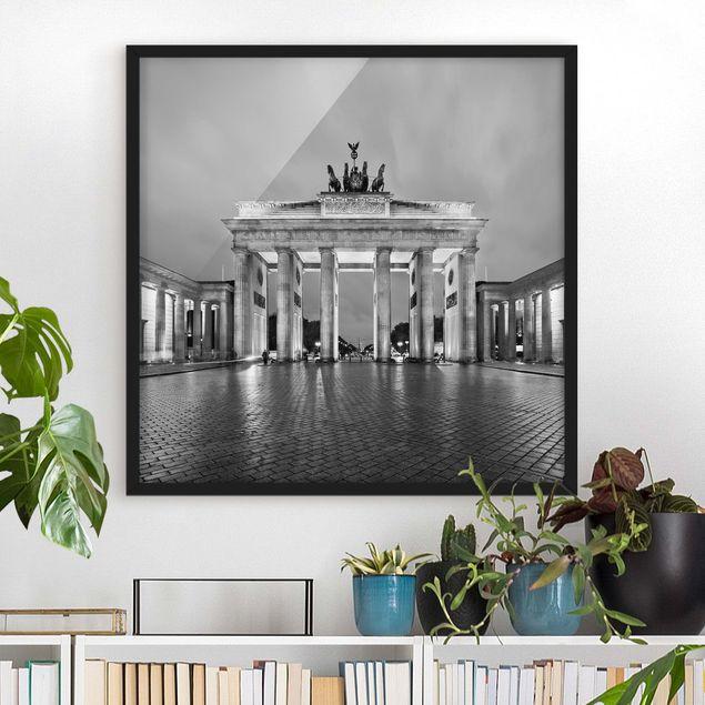 Bild mit Rahmen - Erleuchtetes Brandenburger Tor II - Quadrat 1:1