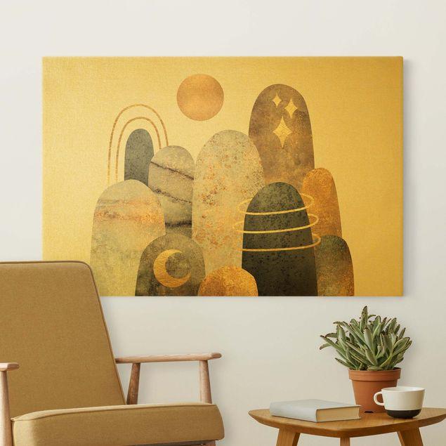 Leinwandbild Gold - Gold Berge mit Mond - Querformat 3:2