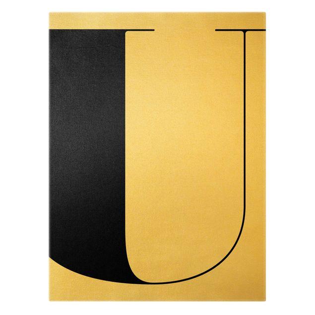 Leinwandbild Gold - Antiqua Letter U - Hochformat 3:4