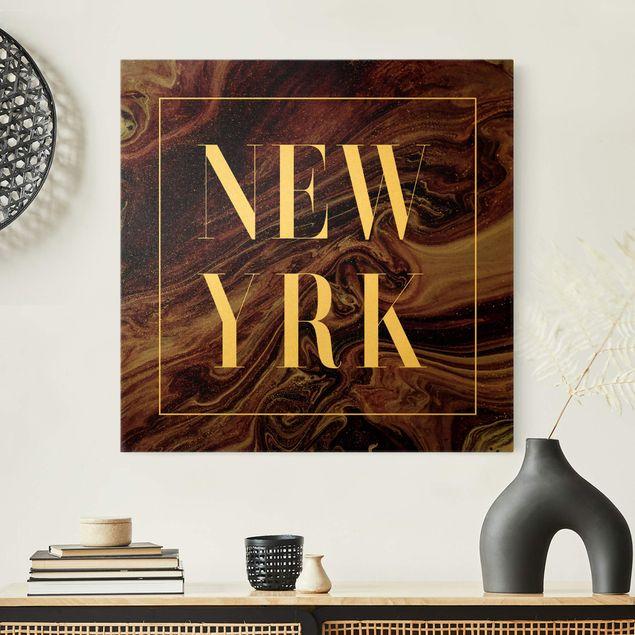 Leinwandbild Gold - Abstrakte Malerei - New York - Quadrat 1:1