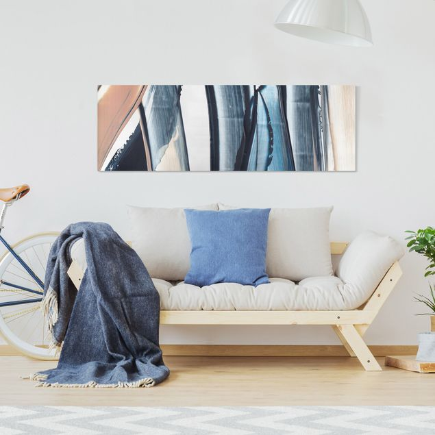 Leinwandbild - Blau und Beige Streifen - Panorama 3:1