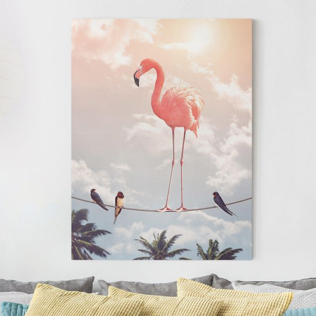 Leinwandbild - Jonas Loose - Himmel mit Flamingo - Hochformat 4:3