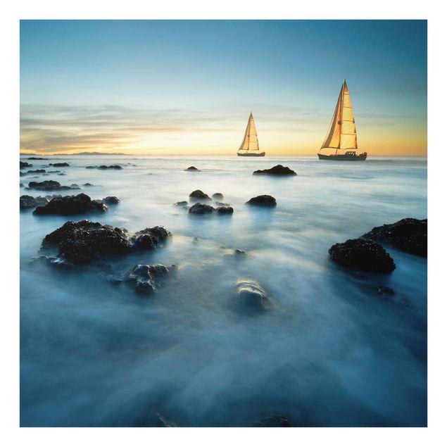 Glas Spritzschutz - Segelschiffe im Ozean - Quadrat - 1:1