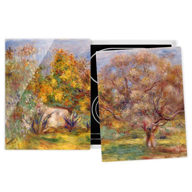 Herdabdeckplatte Glas - Auguste Renoir - Garten mit Olivenbäumen - 52x80cm