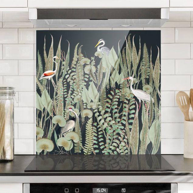 Spritzschutz Glas - Flamingo und Storch mit Pflanzen auf Grün - Quadrat 1:1