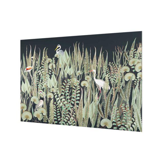 Spritzschutz Glas - Flamingo und Storch mit Pflanzen auf Grün - Querformat 3:2
