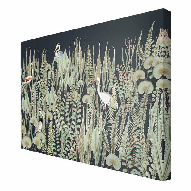 Leinwandbild - Flamingo und Storch mit Pflanzen auf Grün - Querformat 3:2