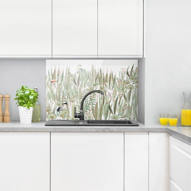 Spritzschutz Glas - Flamingo und Storch mit Pflanzen - Querformat 3:2