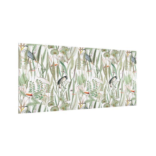 Spritzschutz Glas - Flamingos und Störche mit Pflanzen - Querformat 2:1