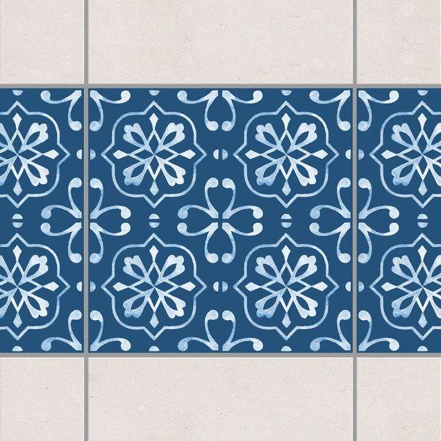 Fliesen Bordüre - Dunkelblau Weiß Muster Serie No.04 - 10cm x 10cm Fliesensticker Set