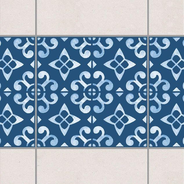 Fliesen Bordüre - Dunkelblau Weiß Muster Serie No.05 - 15cm x 15cm Fliesensticker Set