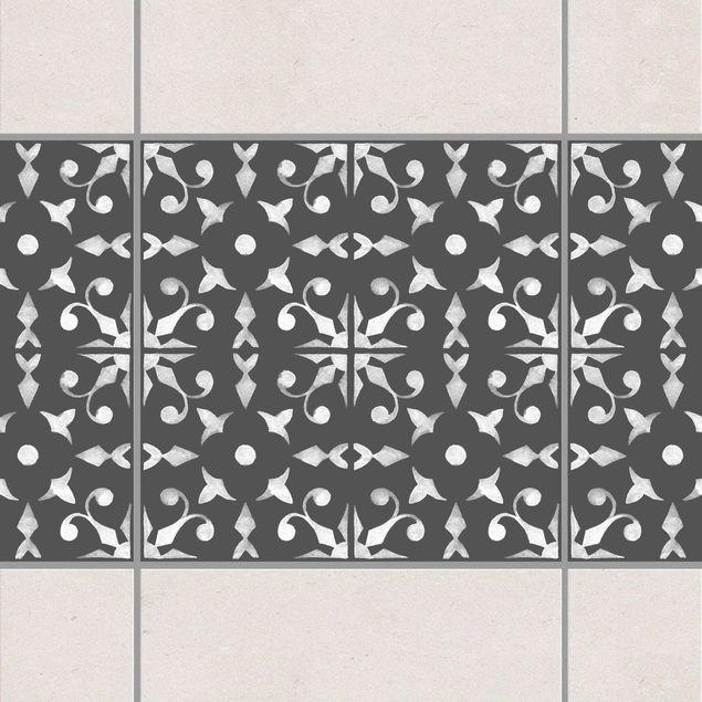 Fliesen Bordüre - Dunkelgrau Weiß Muster Serie No.06 - 20cm x 20cm Fliesensticker Set