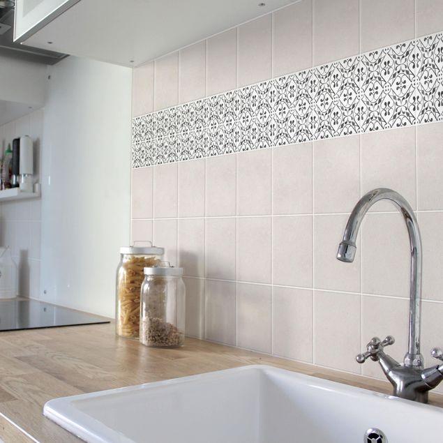 Fliesen Bordüre - Grau Weiß Muster Serie No.3 - 15cm x 15cm Fliesensticker Set