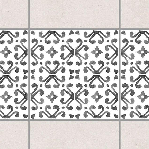 Fliesen Bordüre - Grau Weiß Muster Serie No.7 - 10cm x 10cm Fliesensticker Set