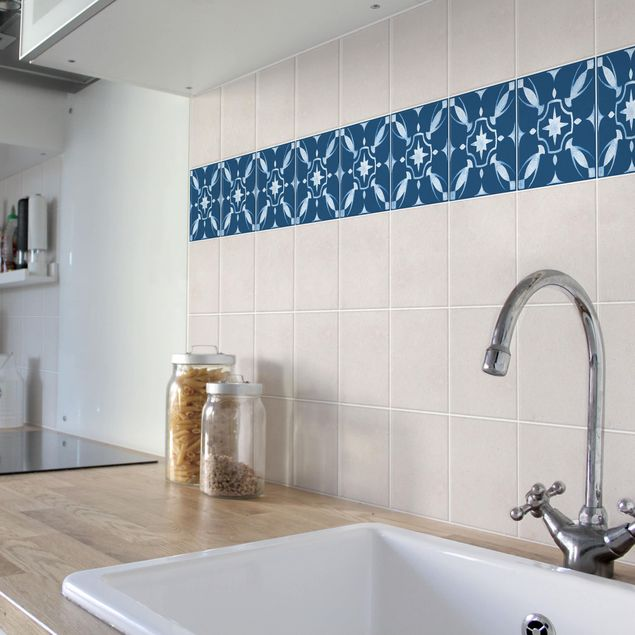 Fliesen Bordüre - Muster Dunkelblau Weiß Serie No.1 - 20cm x 20cm Fliesensticker Set