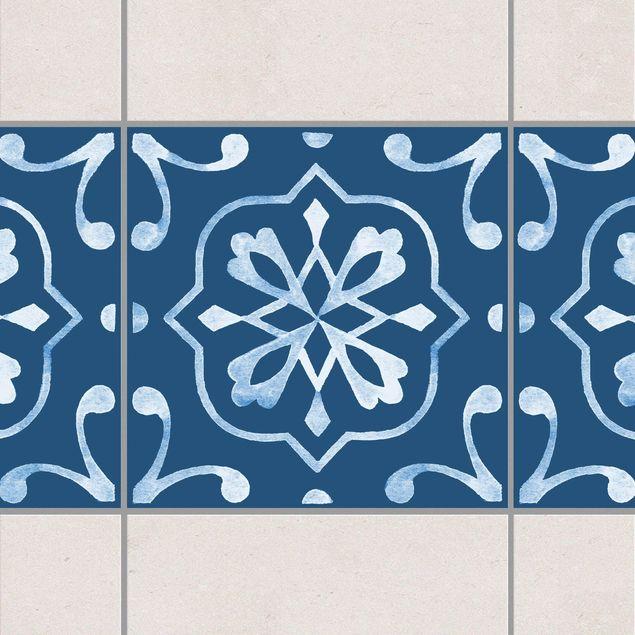 Fliesen Bordüre - Muster Dunkelblau Weiß Serie No.4 - 10cm x 10cm Fliesensticker Set