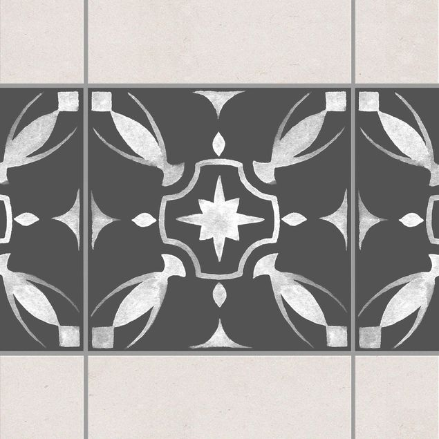 Fliesen Bordüre - Muster Dunkelgrau Weiß Serie No.01 - 20cm x 20cm Fliesensticker Set